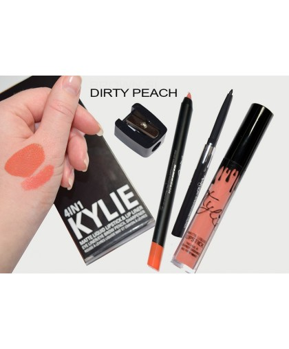 Матовый блеск KYLIE 4в1 (блеск + карандаш для губ + выдвижной черный карандаш для глаз + точилка)